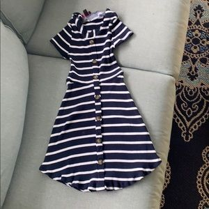KIDS 10/12 (M) BLUE AND WHITE STRIPED FITTED DRESS
